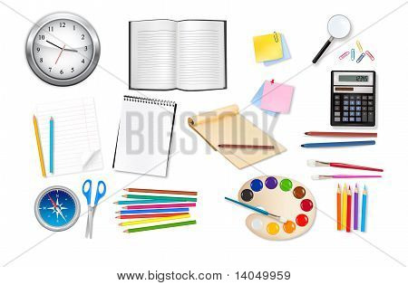 A office and business supplies. Vector.