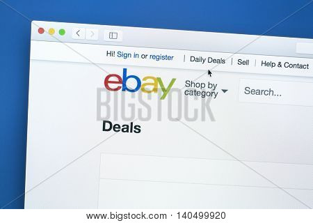Ostersund, Sweden - July 30, 2016: ebay website on a computer screen. eBay is an americanmultinational corporationand e-commercecompany