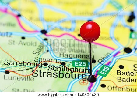 Schiltigheim pinned on a map of France