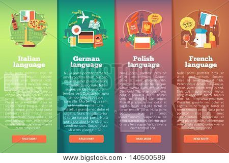 Vertical banners set of foreign language schools. Flat vector colorful illustration concepts of Italian, German, Polish and French languages. For brochure, booklet, print and web materials.