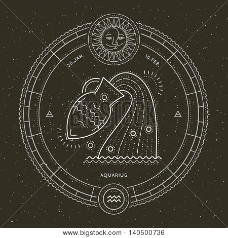 Vintage thin line Aquarius zodiac sign label. Retro vector astrological symbol, mystic, sacred geometry element, emblem, logo. Stroke outline illustration.