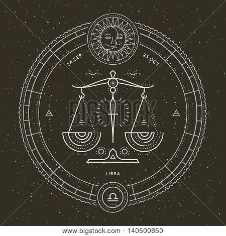 Vintage thin line Libra zodiac sign label. Retro vector astrological symbol, mystic, sacred geometry element, emblem, logo. Stroke outline illustration.