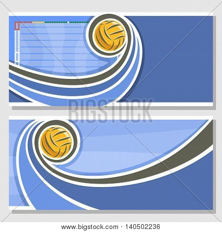 Vector abstract logo for Water Polo Ball, blue horizontal banners for text info title with swimming pool liquid waves and waterpolo equipment yellow water polo ball. Invitation ticket to sports arena