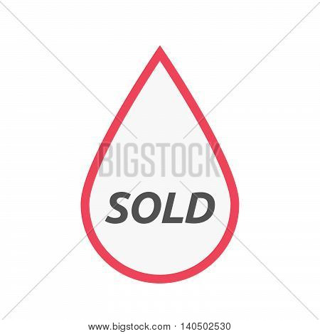 Isolated Line Art Blood Drop Icon With    The Text Sold