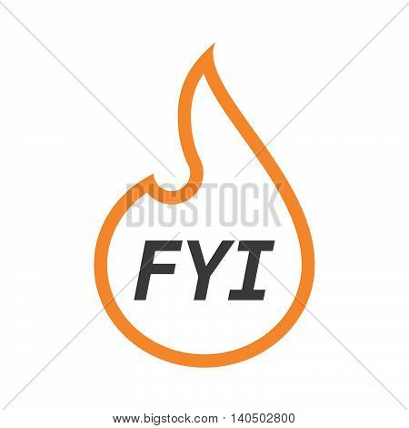 Isolated  Line Art Flame With    The Text Fyi