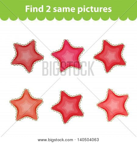 Children's educational game. Find two same pictures. Set starfish for the game find 2 same picture. Vector illustration.