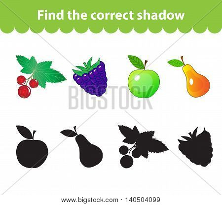 Children's educational game find correct shadow silhouette. Fruit set the game to find the right shade. Vector illustration poster