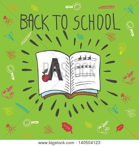Back to school hand drawn doodle card with spell book and alphabet exercise. The spell book on green background