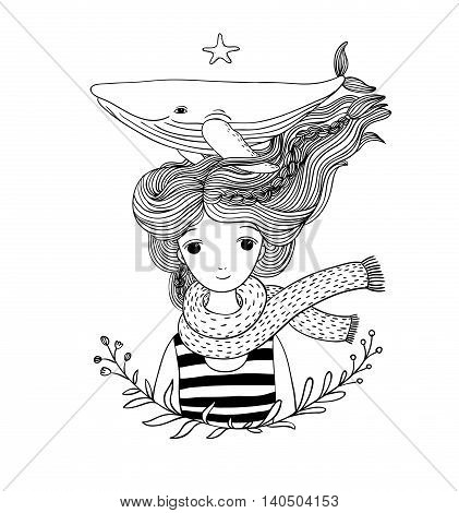 Beautiful young girl sailor with a whale in her hair. Sea animals. Hand drawing isolated objects on white background.