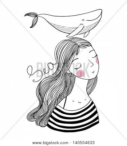 Beautiful young girl sailor with a whale. Sea animals. Hand drawing isolated objects on white background. Vector illustration. Coloring book