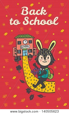 Back to school hand drawn doodle card with Bunny student. Bunny student going to school on red background