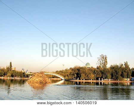 Tashkent Uzbekistan - September 26 2007:Pond and park in Almazar.