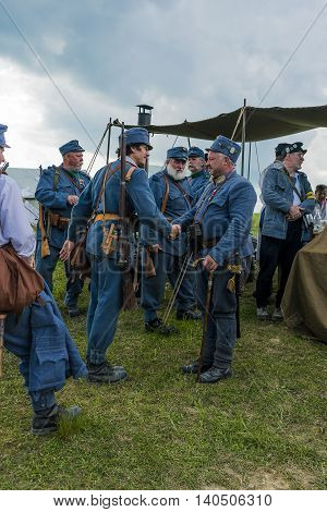 Snina Slovakia - May 28 2016: Military historical reconstruction battles of World War I Karpaty 1914/1916. Participants of event expects to begining reconstruction near Snina Slovakia.