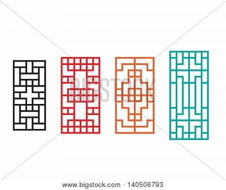 Rectangle Chinese window with pattern vector design