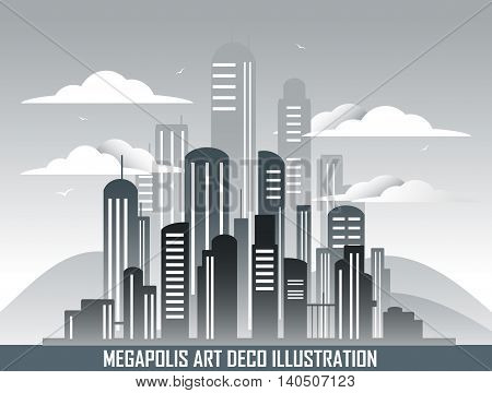 Retro megalopolis in art deco style. View from afar. Vector
