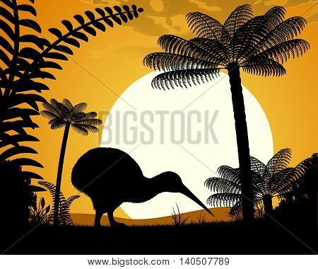 Kiwi bird at sunset. Kiwi bird on a background of tree ferns. Vector illustration.