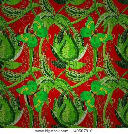 Bright green vintage doodle flowers on reb background. Vector illustration.