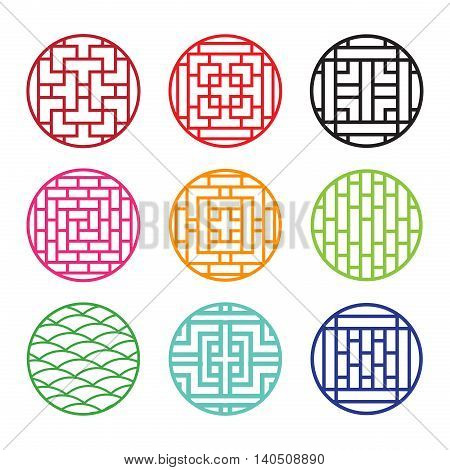 Set of round Chinese pattern window frame vector