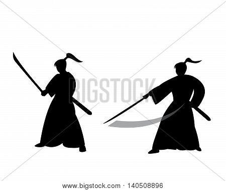Samurai warrior in silhouette style vector design