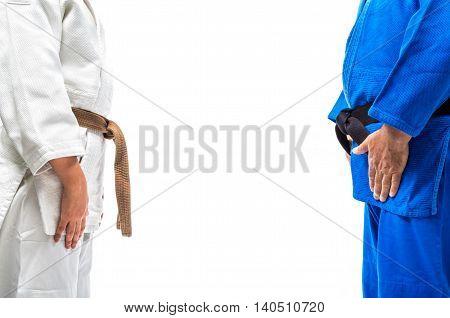 Standing bow of female judo brown belt to her sensei black belt