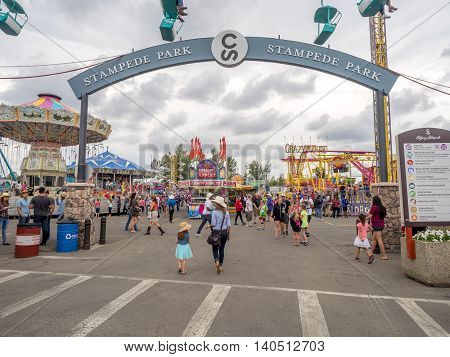 CALGARY, CANADA - JULY 9: The grounds at the Calgary Stampede at sunset on July 8, 2016 in Calgary, Alberta. The Calgary Stampede is often called the greatest outdoor show on Earth.