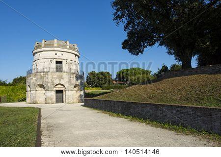 RAVENNA,ITALY-AUGUST 21,2015:mausoleum of Theodoric in Ravenna-Italyduring a sunny day.