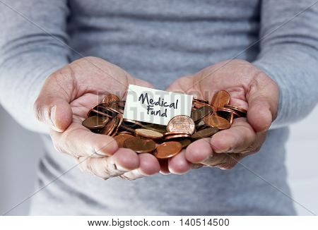 Man holding coins for medical and healthcare plan in retirement