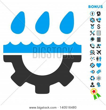 Water Service icon with bonus pictograms. Glyph style is bicolor flat iconic symbol with rounded angles, blue and gray colors, white background.