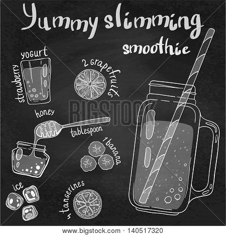 Recipe illustration smoothie (cocktail) with grapefruits strawberry yogurt ice honey bananas tangerines. Vector hand drawn illustration for recipe books magazines menu. Scandinavian style