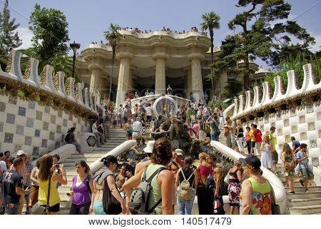 Barcelona,es - Circa August, 2008 - View Of The Park Guell By Antonio Gaudì, Circa August 2008, Barc