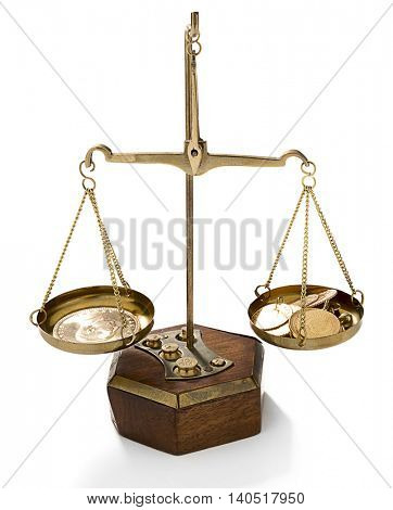 Stack of shiny gold coins placed on weighing scale isolated on white background.