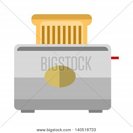 Toast popping toaster bread breakfast food kitchen utensil flat vector illustration. Kitchen toaster breakfast preparing and kitchenware toaster. Domestic household toaster machine