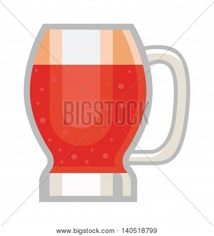 Red beer glass isolated on white background. Dark beer cup alcohol alcohol drink. Beer cup mug liquid white foam and bubble cold drip refreshment