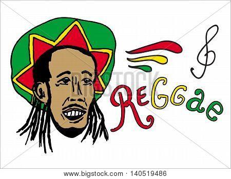 Portrait Of Rastaman In Rasta Hat. Jamaica Theme. Reggae Concept Design. Hand Drawn Art. Banner, Car