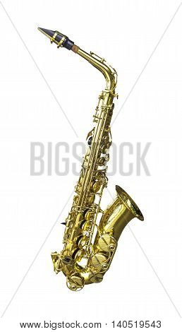 Golden alto saxophone isolated on white background