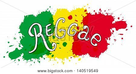 Modern print in reggae style. Vector isolated typography. Lettering design. Handwritten.