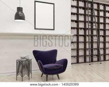 House Library With Armchair