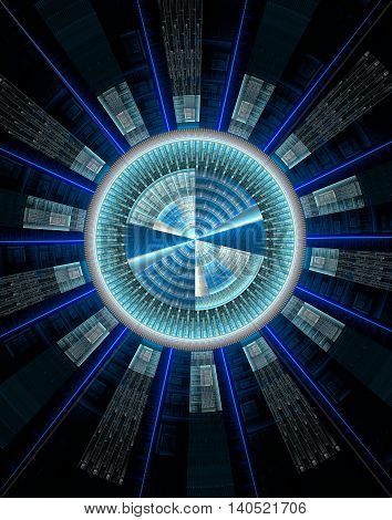Abstract technology computer generated fractal blue cyan shades