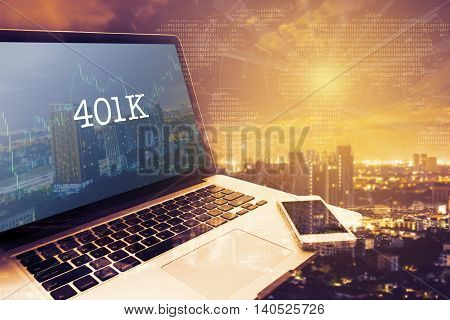 401K : Grey screen laptop computer. Vintage effects. Digital Business and Technology Concept.