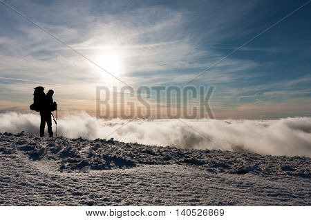Winter clouds on the ridge of Veľká Fatra mountains Western Carpathians Slovakia.