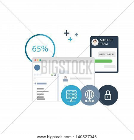 Vector Illustration of a Software Solution for Payments, Technical and Control of Different Hosting Aspects