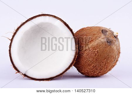 fresh coconut half clipping path for coconut milk and coconut shell  on white background fruit food isolated