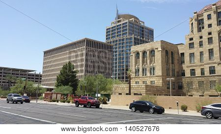 PHOENIX AZ - JULY 29 2016: Bank and financial institution skyscrapers rising above Cesar Chavez Memorial Plaza at Jefferson Street in Phoenix Arizona
