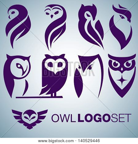owl logo set concept designed in a simple way so it can be use for multiple proposes like logo ,mark ,symbol or icon.