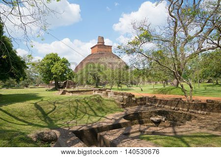 View of the ancient the Jetavana Dagoba. Anuradhapura, Sri Lanka