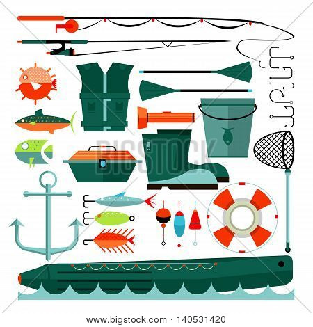 Big set of fishing elements. Flat design. Fishing hooks, rod boat, anchor and other. Vector Illustration.