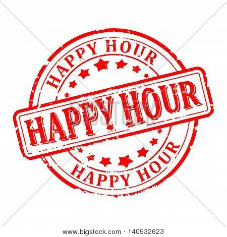 Scratched red round seal with the inscription - Happy hour - vector