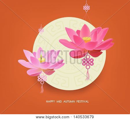 Mid Autumn Lantern Festival  background with moon cake, tea and lotus. Happy Mid Autumn Festival