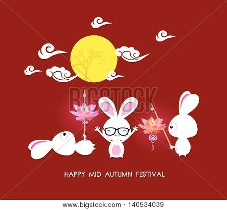 Mid autumn festival rabbit playing with lotus lanterns with chinese