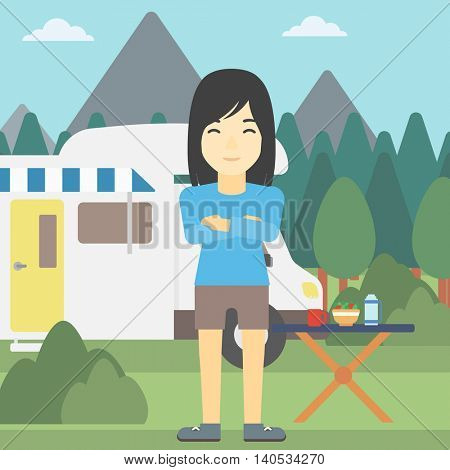 An asian woman standing in front of motor home. Woman with arms crossed enjoying vacation in camper van. Woman travelling by camper van. Vector flat design illustration. Square layout.